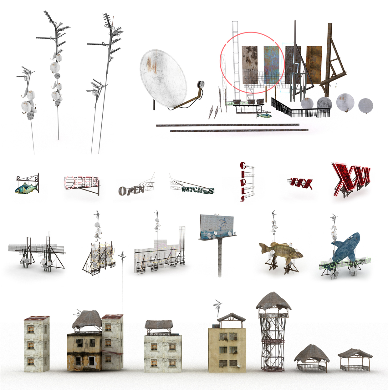 Artwork de los elementos de la ciudad