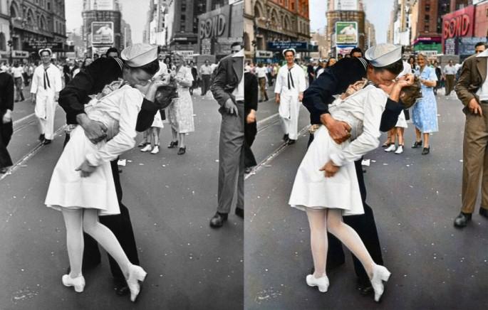 Beso en la despedida de un militar en 1945 - Fotografía: Sanna Dullaway
