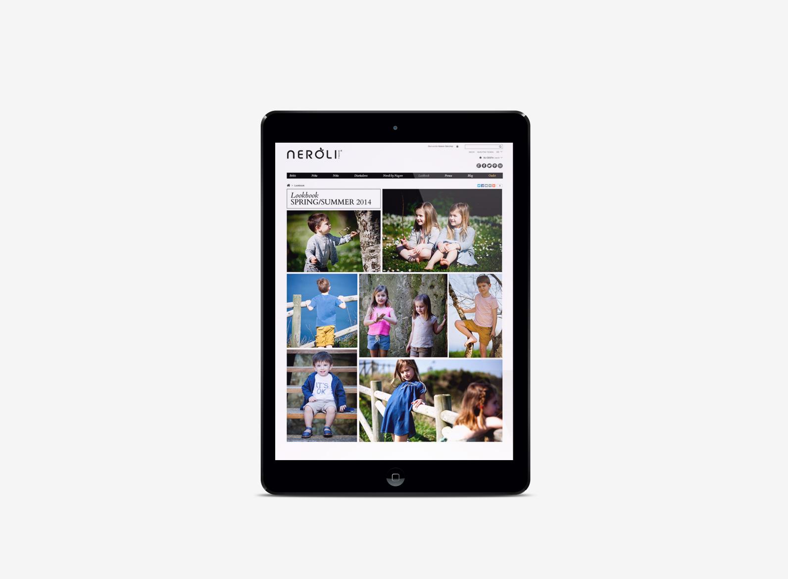 Ejemplo de la web en tablet
