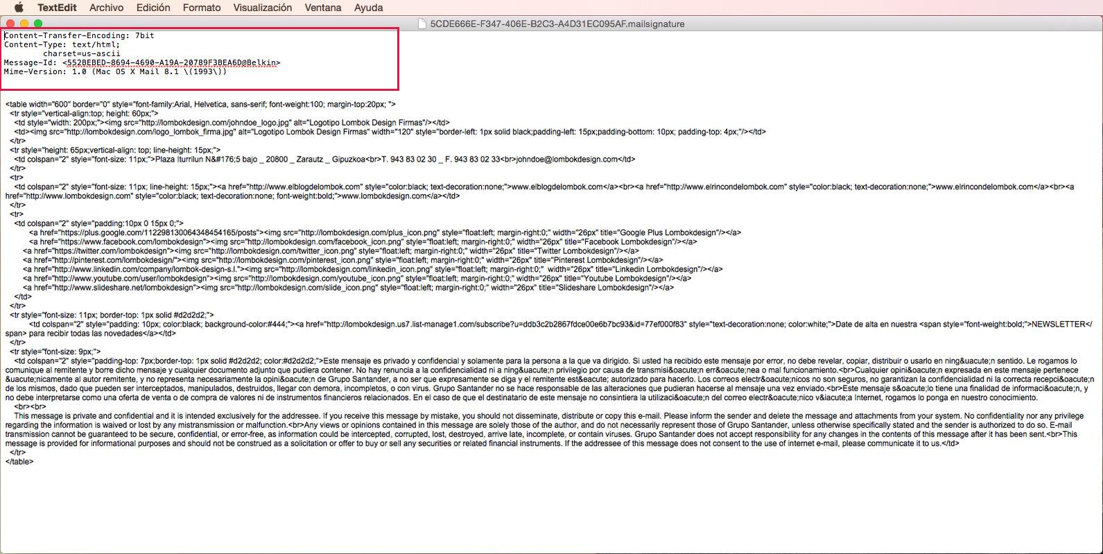 Firma HTML Mail Mac Yosemite Lombokdesign