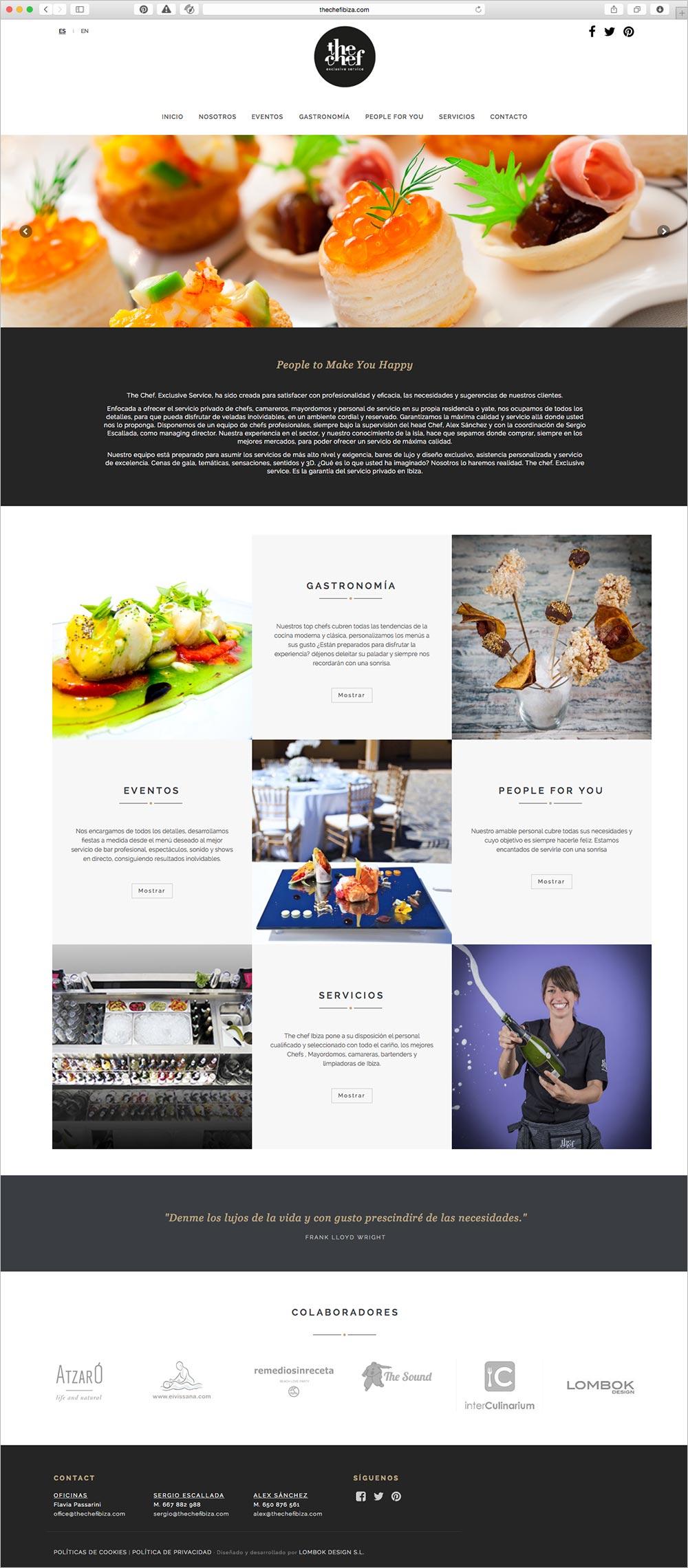 nueva página web The Chef Ibiza